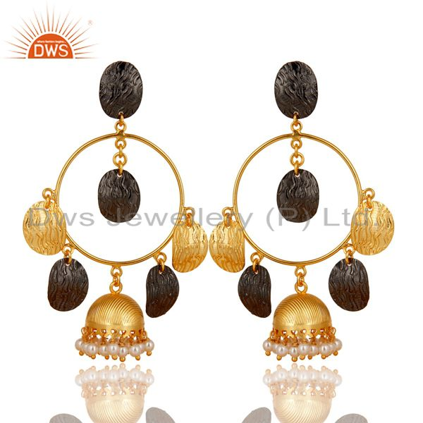 14K Gold Plated & Black Oxidized Traditional Pearl Beads Jhumka Brass Earrings