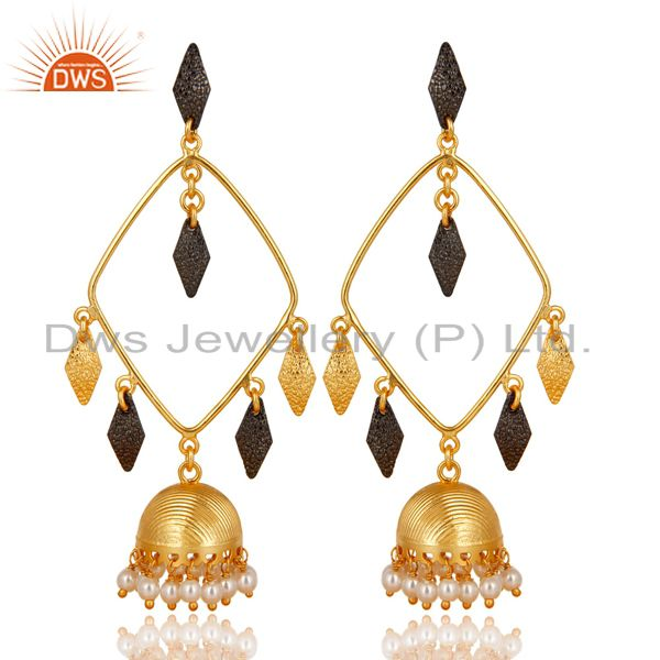 14K Yellow Gold Plated & Black Oxidized Pearl Beads Jhumka Brass Earrings