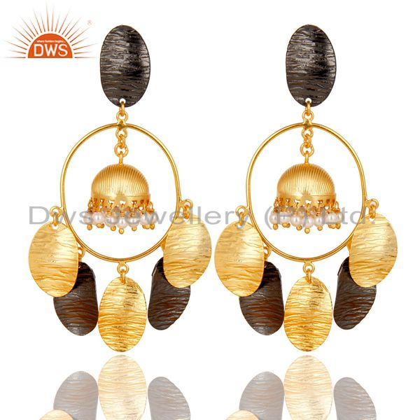 14K Yellow Gold Plated Traditional Handmade Pearl Beads Jhumka Earrings