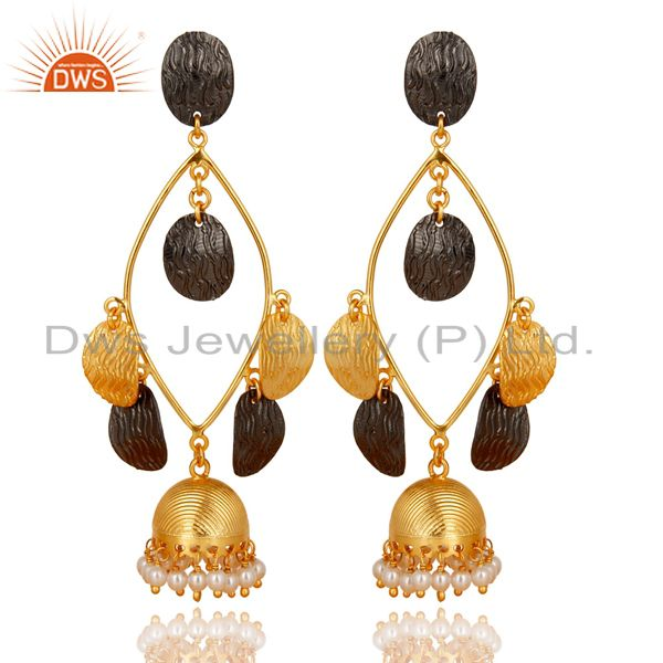 Traditional 14K Gold Plated & Black Oxidized Pearl Beads Jhumka Brass Earring