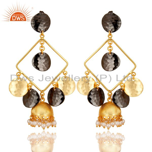14K Gold Plated & Black Oxidized Traditional Handmade Pearl Jhumka Brass Earring