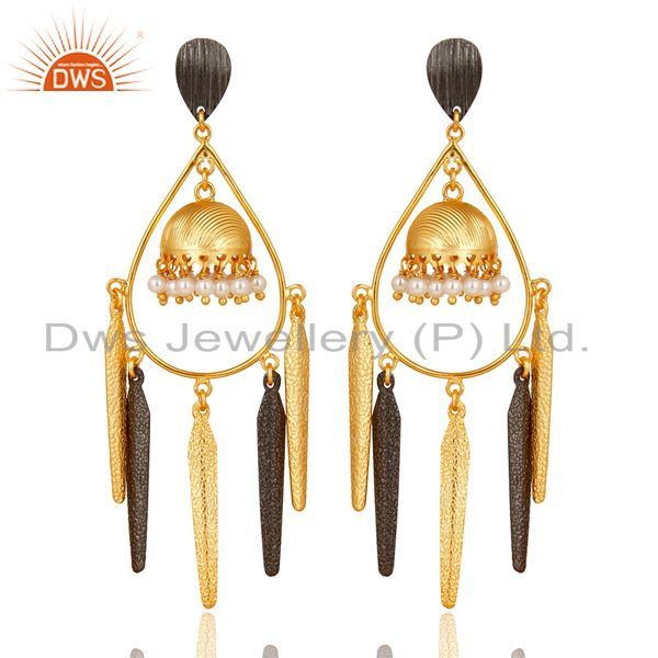 14K Gold Plated & Oxidized Traditional Pearl Beads Jhumka Brass Earrings