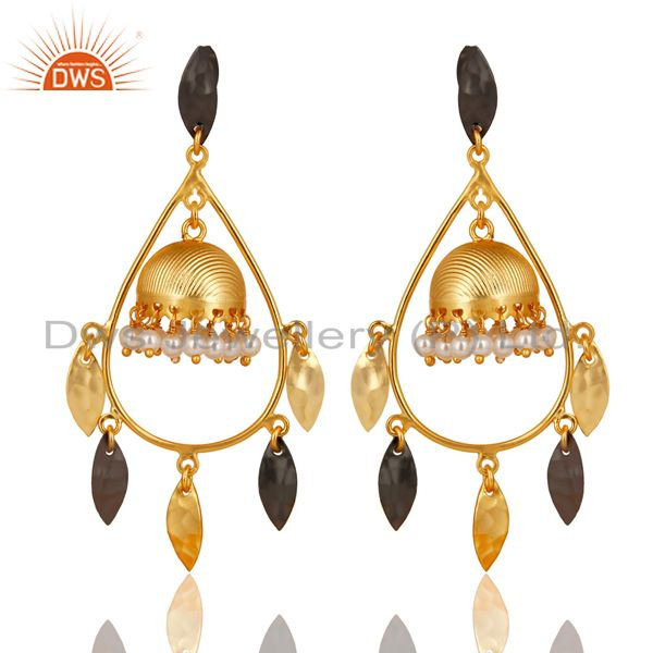 Gold Plated & Black Oxidized Traditional Pearl Jhumka Brass Earrings