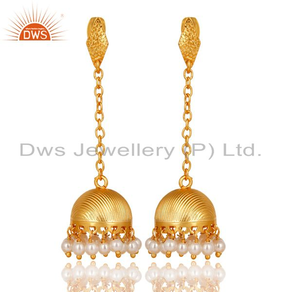14K Yellow Gold Plated Traditional Handmade Pearl Chain Jhumka Brass Earrings