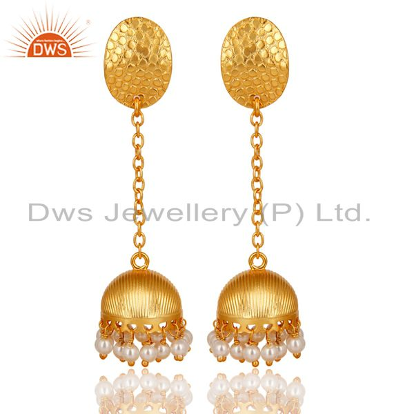 14K Gold Plated Handmade Round Pearl Beads Chain Jhumka Brass Earrings