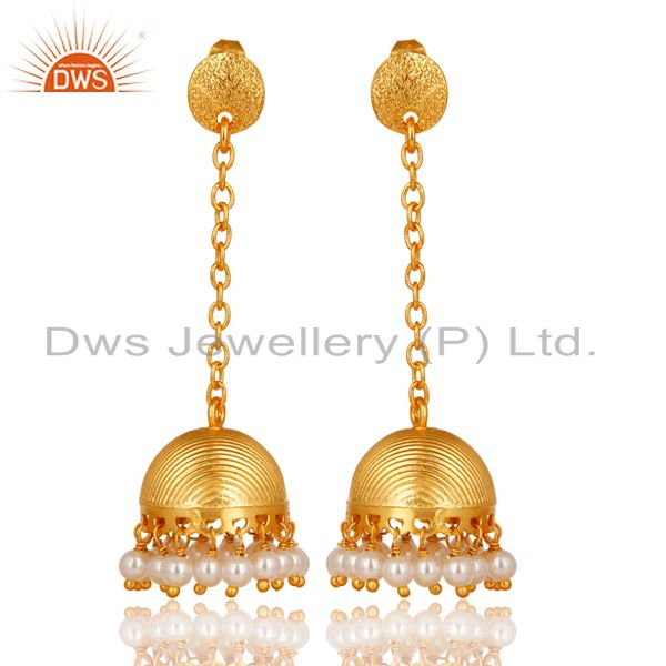 14K Gold Plated Traditional Handmade Pearl Beads Chain Jhumka Brass Earrings