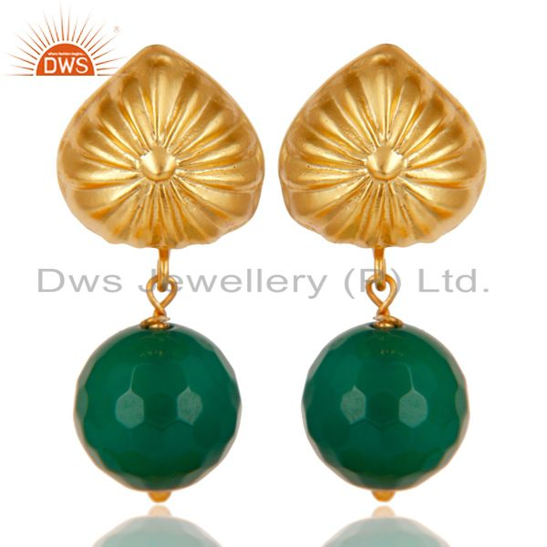 Handmade Art Faceted Green Onyx Drops Brass Earrings In 14K Yellow Gold Plated