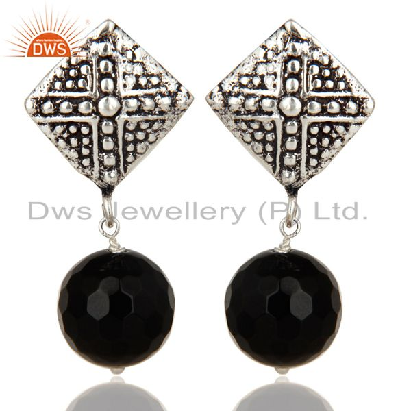 Black Oxidized With Silver Plated Ball Style Black Onyx Drops Brass Earrings