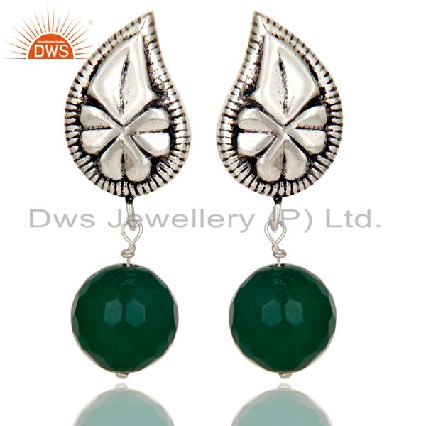 Flower Carving Green Onyx Drops Brass Earrings Made In Oxidized Silver Plated