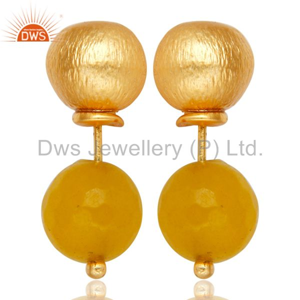 Yellow Chalcedony Two Way Stud Ball Stud Post 14 K Gold Plated Fashion Earring