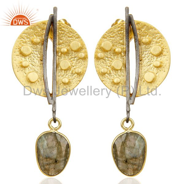 Labradorite Dangle 14K Yellow Gold Plated Textured Design Brass Earrings Jewelry