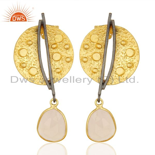 Gold Plated Texture Designer Boutique Earring Rose Chalcedony Fashion Jewelry