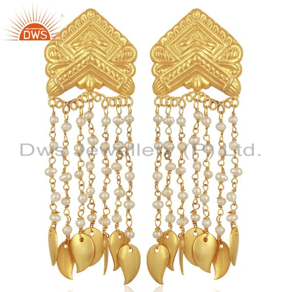 Pearl Bead Chain Tassel Sterling Silver 18k Yellow Gold Plated Earring Jewellery