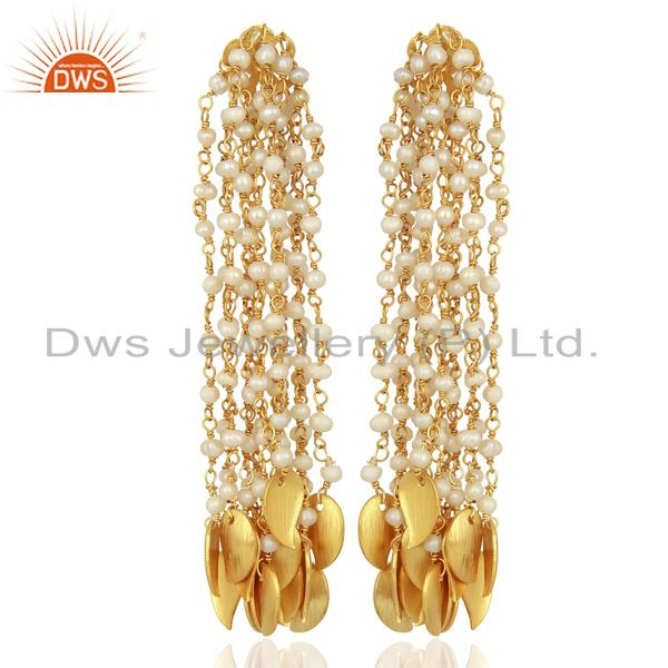 Pearl Bead Chain Tassel Sterling Silver 18k Gold Plated Chandelier Earrings