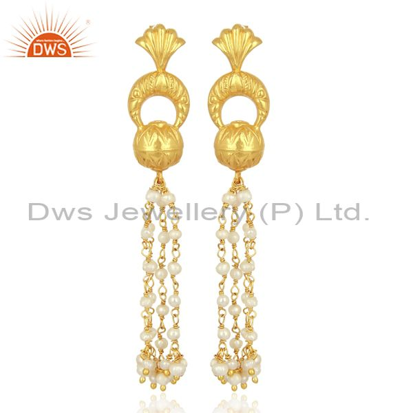 Natural Pearl 925 Sterling Silve Traditional Chandelier Earrings Fashion Jewelry