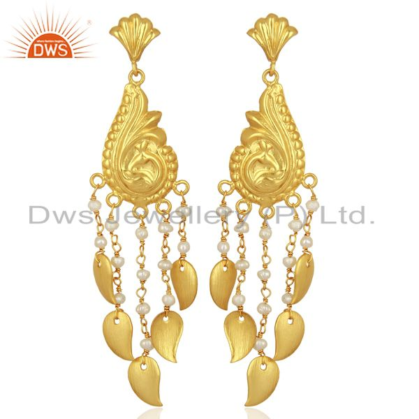 Pearl Sterling Silver 18k Gold Plated Traditional Jewellery Chandelier Earring