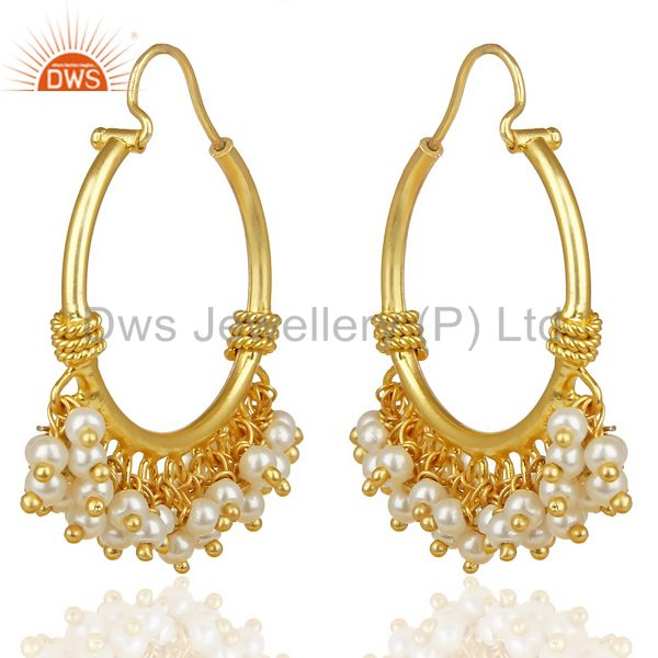 Pearl Hoops 18K Gold Plated Brass Chand Bali Earrings Jewellery