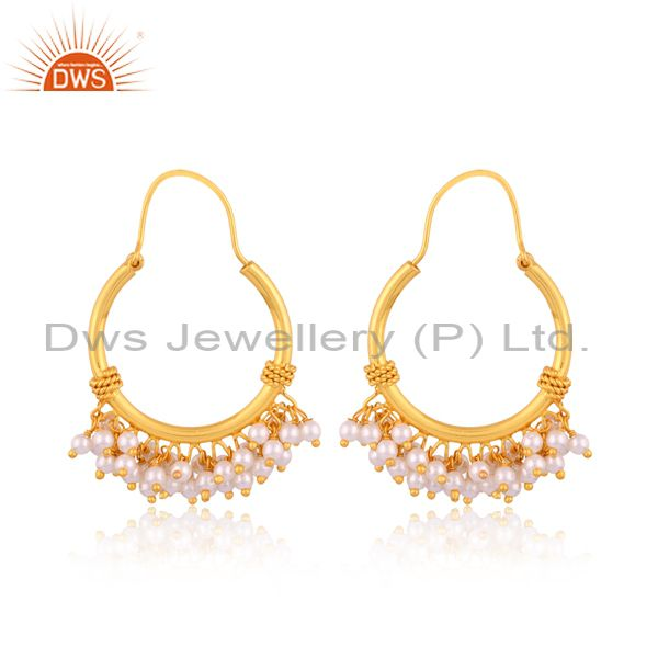 Pearl Hoops 925 Sterling Silver 18K Gold Plated Chand Bali Earrings Jewellery
