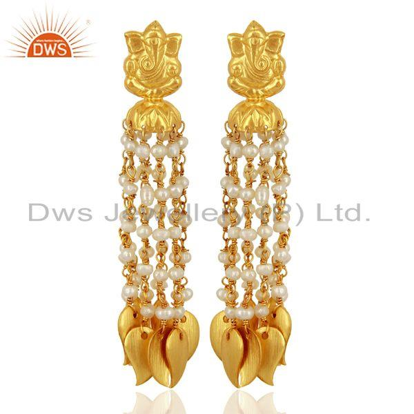 Pearl Temple Brass 18K Yellow Gold Plated Earring Traditional Jewellery