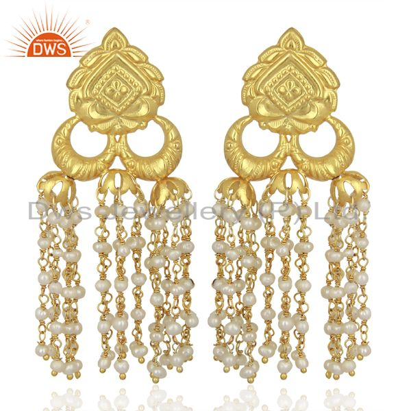 Pearl Chandelier 18K Yellow Gold Plated 925 Sterling Silver Traditional Earrings