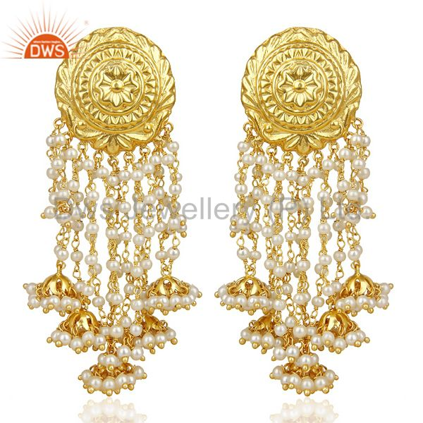 Pearl Jhumka 18K Gold Plated Brass Earring Traditional Jewellery
