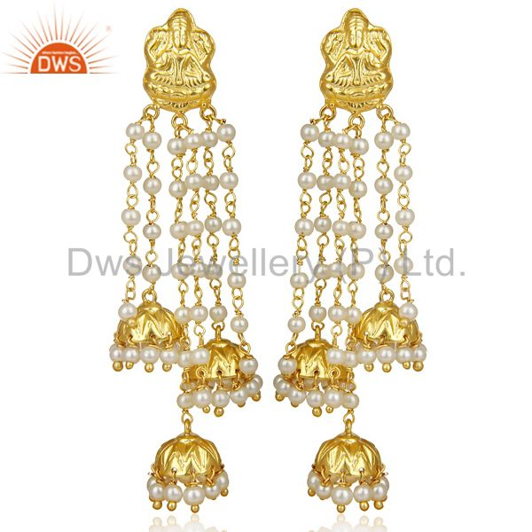 Pearl Temple 18K Yellow Gold Plated Brass Traditional Jewellery Earrings