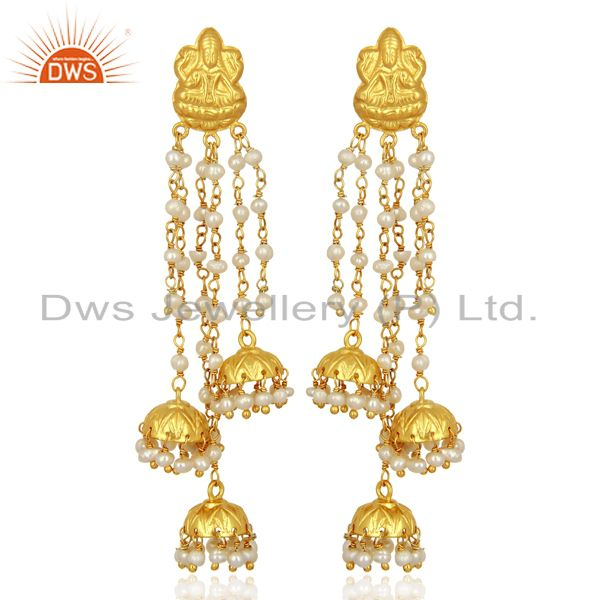 Pearl Temple 18K Gold Plated 925 Sterling Silver Earrings Traditional Jewelry
