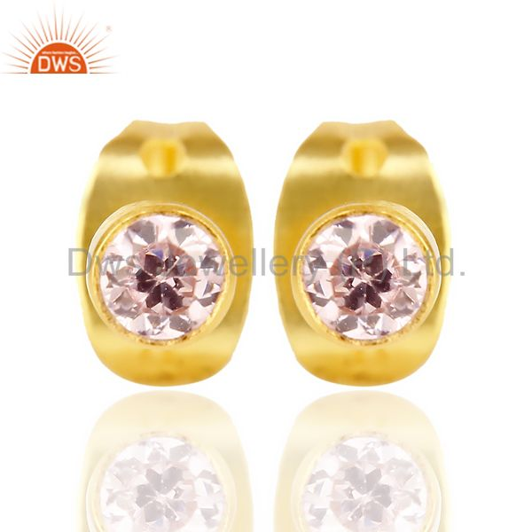 Pink Zircon Tiny 3MM Post 14 K Gold Plated Fashion Earring,Quete Earrings