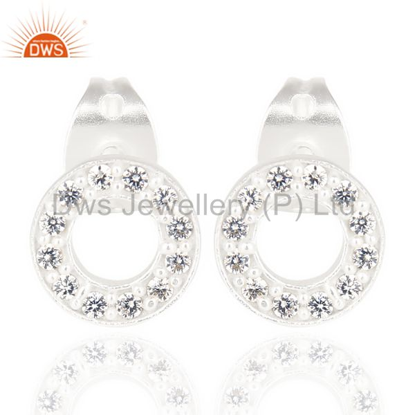 White Cz Circle Post Silver Plated Fashion Earring
