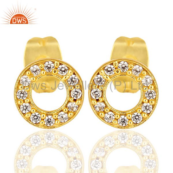 White Cz Circle Post 14 K Gold Plated Fashion Earring