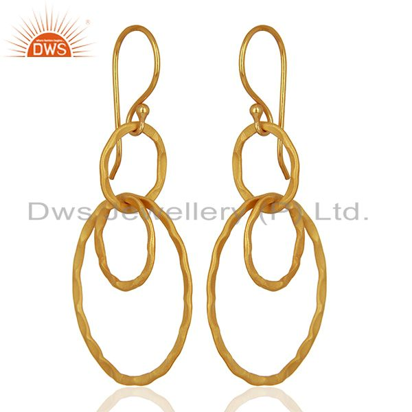 New Arrival Gold Plated Brass Designer Fashion Earrings Supplier