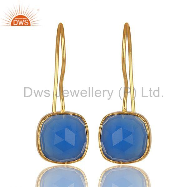 Blue Gemstone Gold Plated Brass Fashion Earrings Manufacturer India