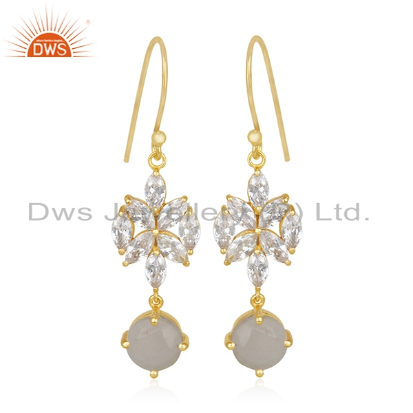 Gold Plated Brass White Zircon and Rainbow Moonstone Dangle Earring Manufacturer