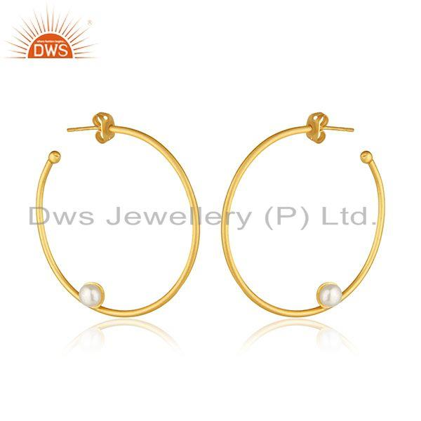 14k Gold Plated Brass Fashion White Pearl Round Hoop Earring Manufacturers India