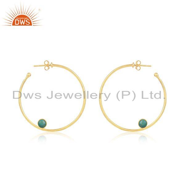 Gold Plated 925 SIlver Green Onyx Gemstone Hoop Earring Jewelry Supplier