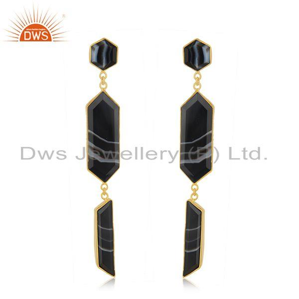 Genuine Banded Agate Gemstone 18k Gold Plated Brass Fashion Dangle Earrings
