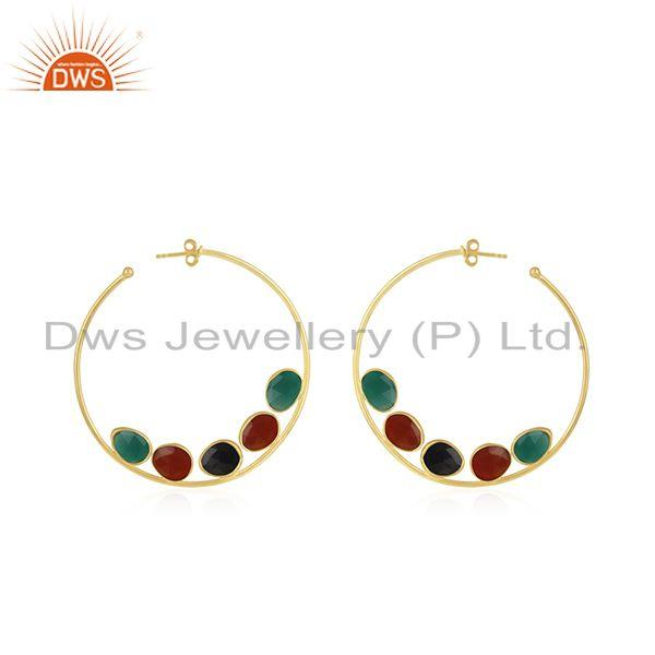 Natural Onyx Gemstone Silver Gold Plated Hoop Earring Jewelry