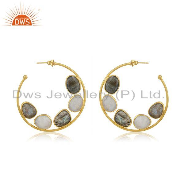 Multi Gemstone Gold Plated Brass Fashion Hoop Earrings Manufacturer Jaipur