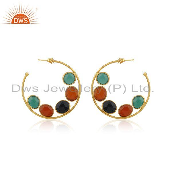 Multi Color Onyx Gemstone Gold Plated Brass Fashion Hoop Earring Supplier Jaipur