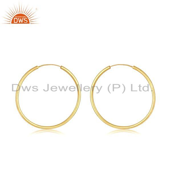 14k Yellow Gold Plated Handmade Brass Fashion Simple Hoop Earrings Manufacturer