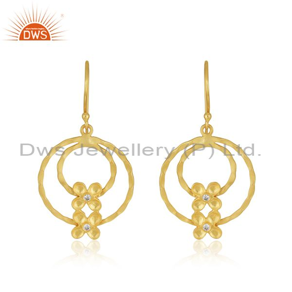 Designer Brass Gold Plated Fashion White Zircon Earrings Manufacturer Jaipur