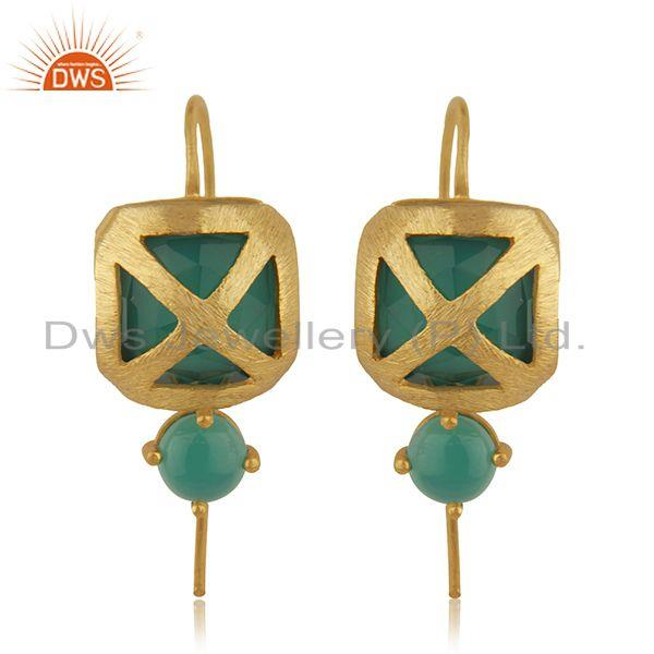 Handmade Gold Plated Designer Green Onyx Gemstone Brass Earring Jewelry