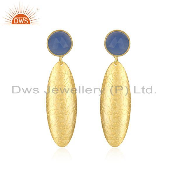 Designer Texture Gold Plated Brass Blue Chalcedony Gemstone Fahsion Earrings