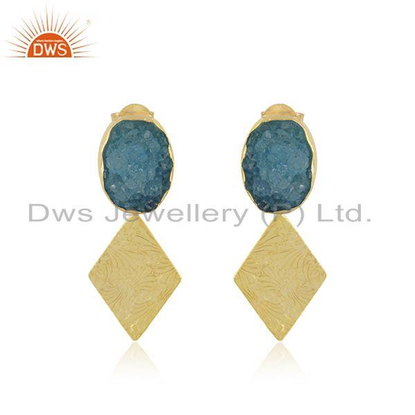 Druzy Sky Blue Gemstone Gold Plated Brass Fashion Earrings Manufacturer India