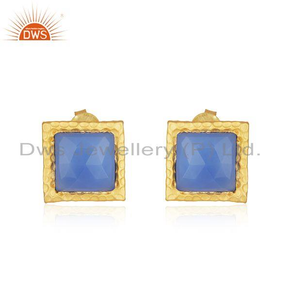 Blue Chalcedony Gemstone Gold Plated Brass Fashion Stud Earrings