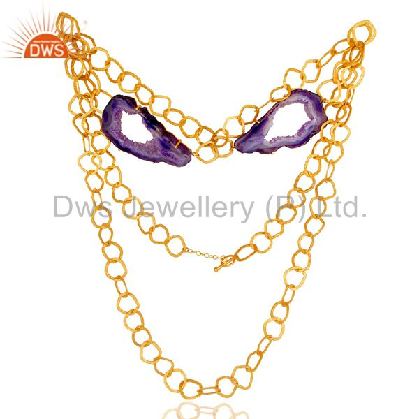Natural Hole Druzy 18K Gold Vermeil Necklace Handmade Link Chain Fashion Jewelry