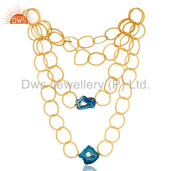 Natural Blue Druzy 18K Gold Vermeil Necklace with Link Chain Fashion Jewelry