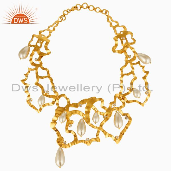 18k Gold Plated Pearl and White Topaz Handmade Art Deco Designer Necklace