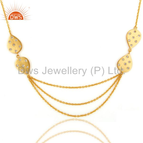22K Yellow Gold Plated Cubic Zirconia Layered Chain Womens Fashion Necklace