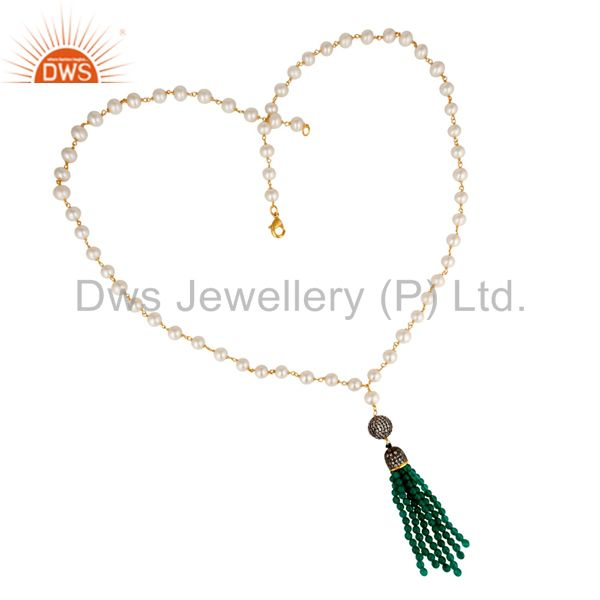 18K Gold Plated Sterling Silver Pearl And Green Onyx Tassel Pendant Necklace